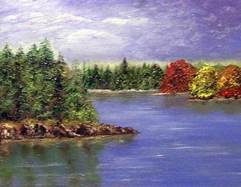 Autumn on the Lake - oil painting by Margo Kelley