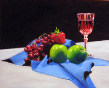 Wine & Fruit - Oil on Panel by Margo Kelley