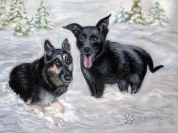 Kody & Ice - Pastel Painting by Margo Kelley