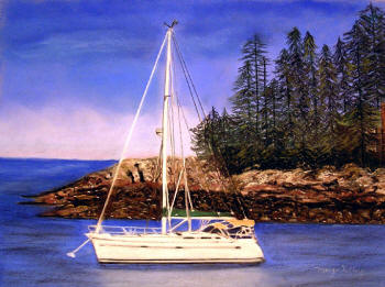 'Five Islands, Maine' - Pastel painting by Margo Kelley