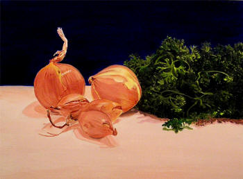 Onions, Shallots & Parsley - Oil on Panel by Margo Kelley