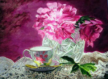Peonies & Reflections - oil painting by Margo Kelley