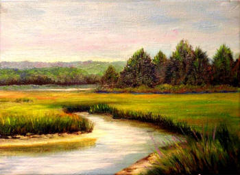 Salt Marsh oil painting by Margo Kelley