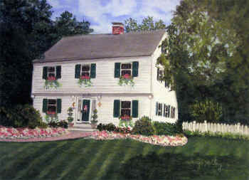 New England Homestead - Pastel Painting by Margo Kelley