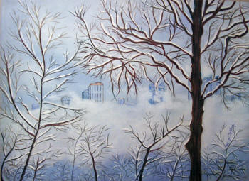 'Winter Fog' - Pastel painting by Margo Kelley